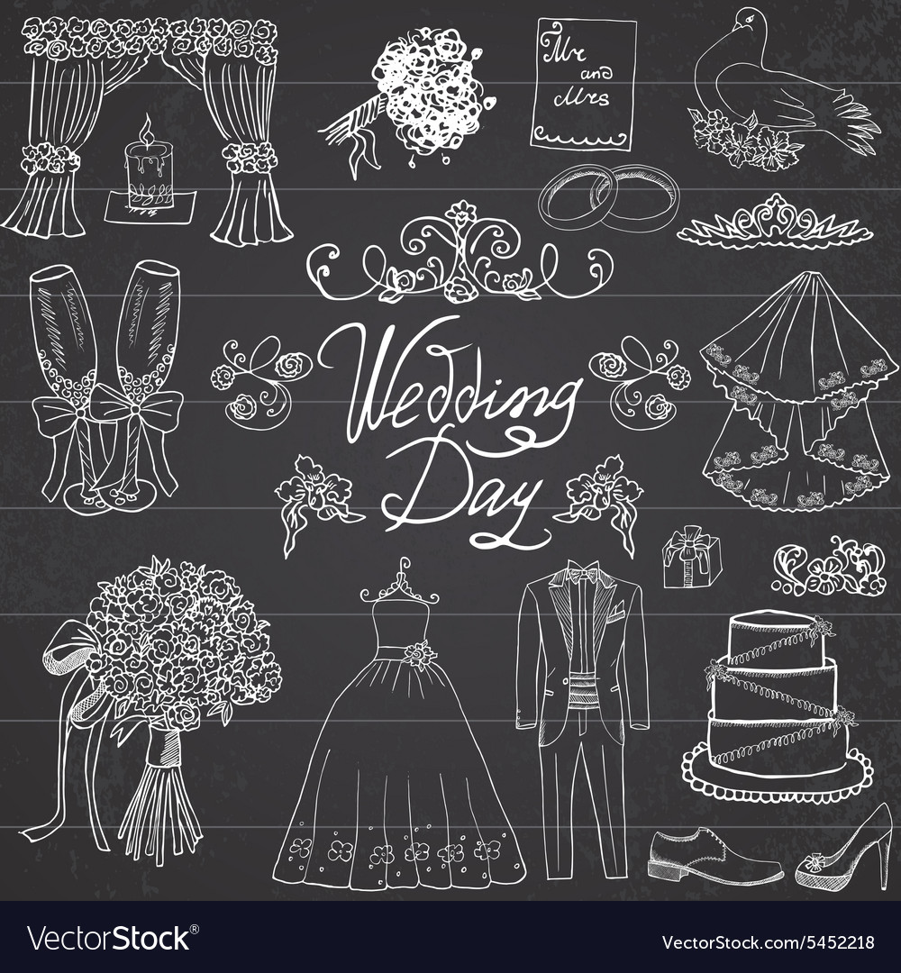 Wedding day elements Hand drawn set with flowers