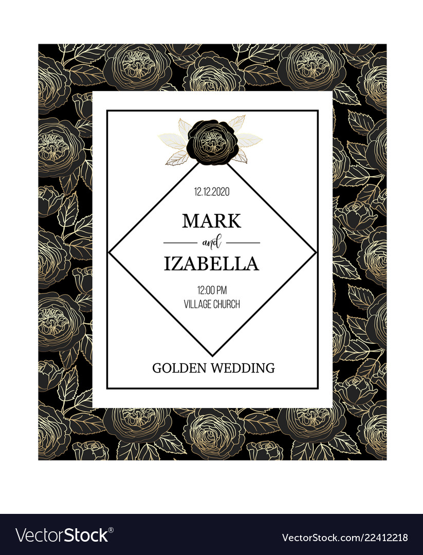 Wedding invitation with golden graphic roses