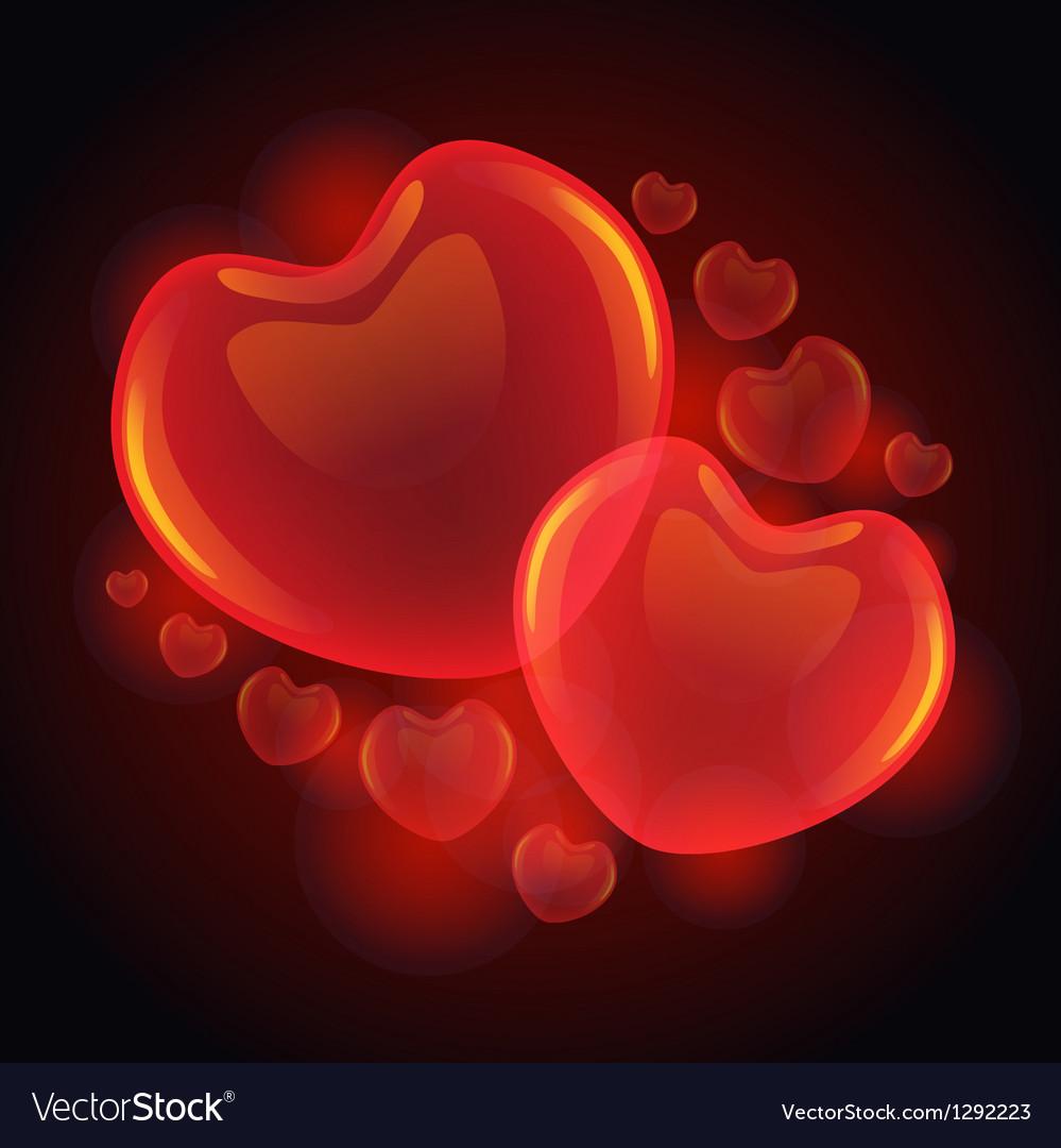 3D glossy hearts