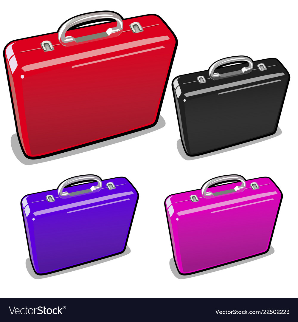 A set of briefcases in different colors isolated