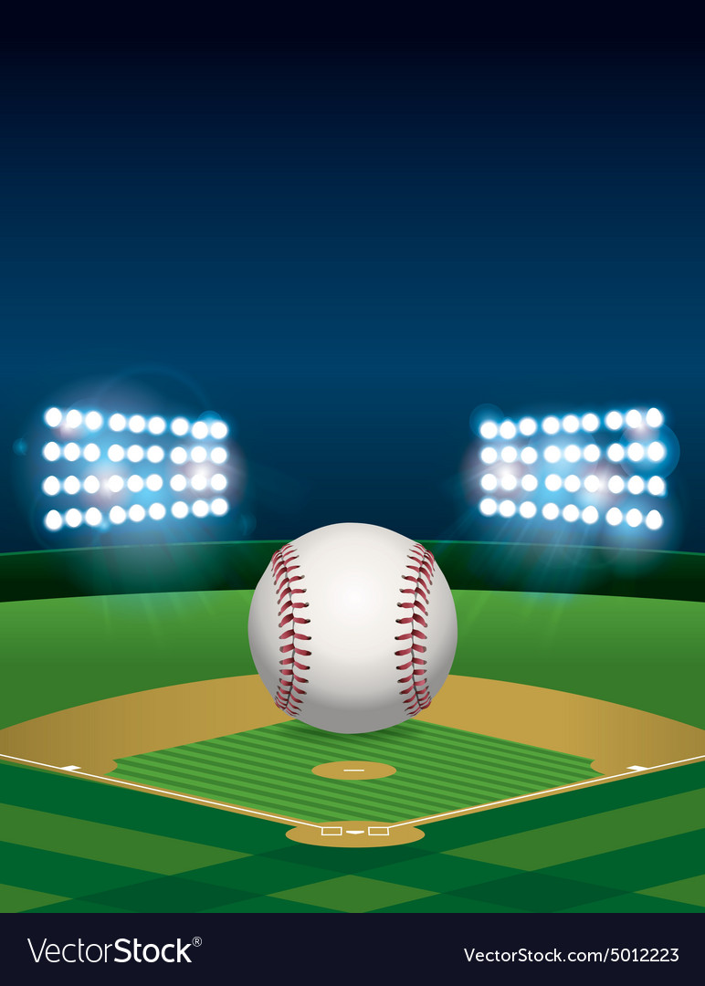 Baseball Field with Lights vector image