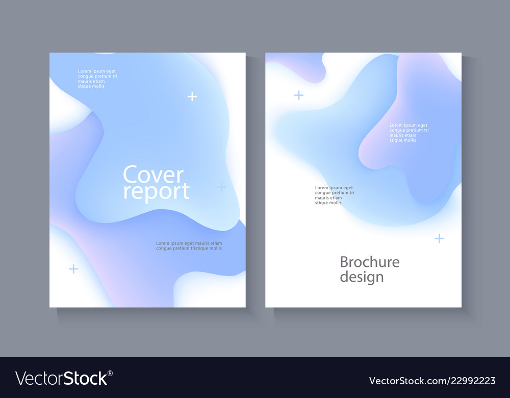 Business poster template with blue gradient liquid