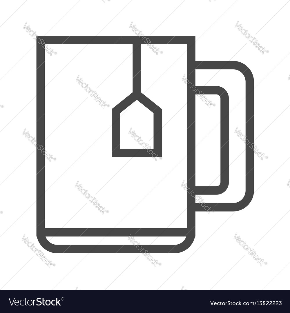 Cup of tea thin line icon