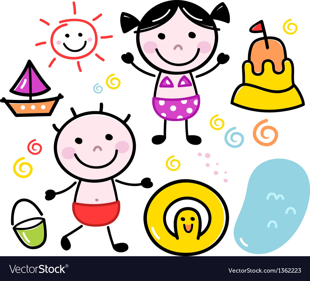 Cute summer doodle kids set isolated on white vector image
