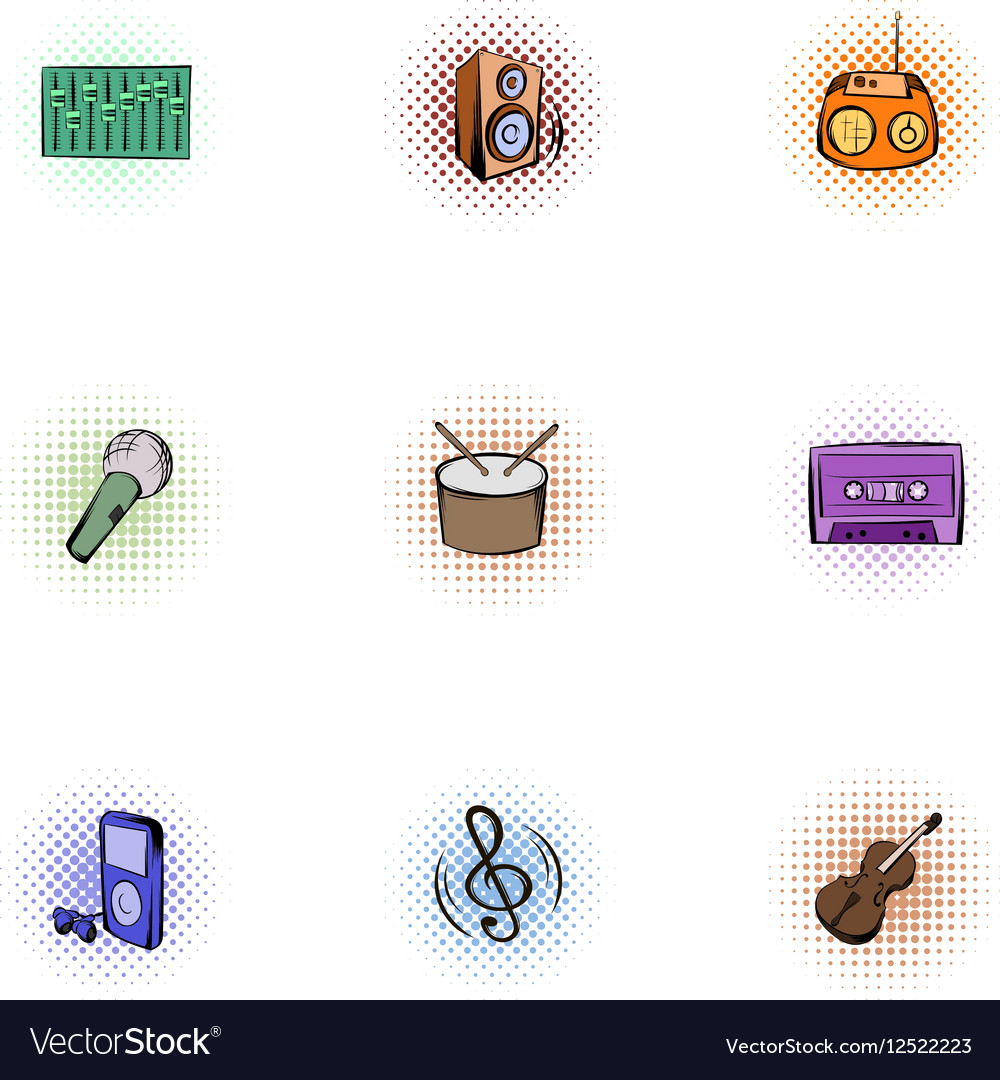 Device for music icons set pop-art style