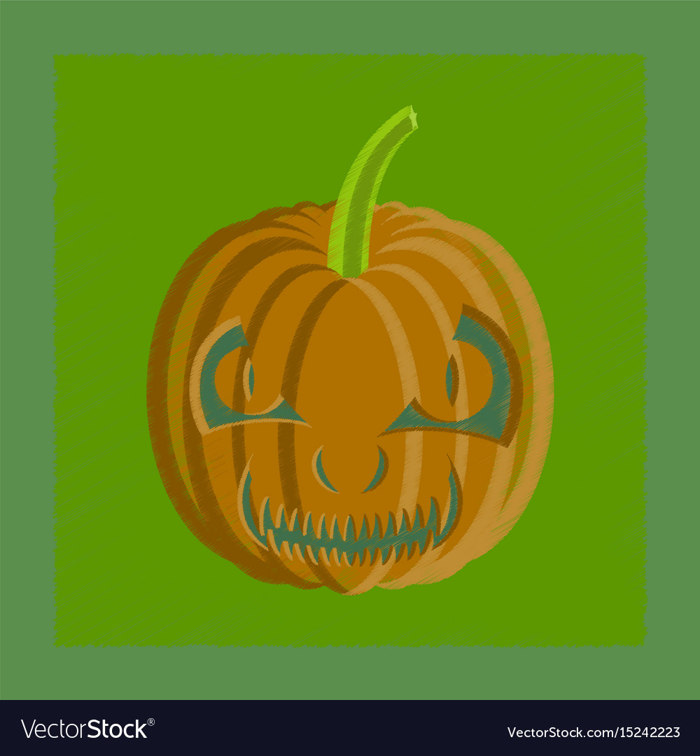 orange scary pumpkin in thin line flat style