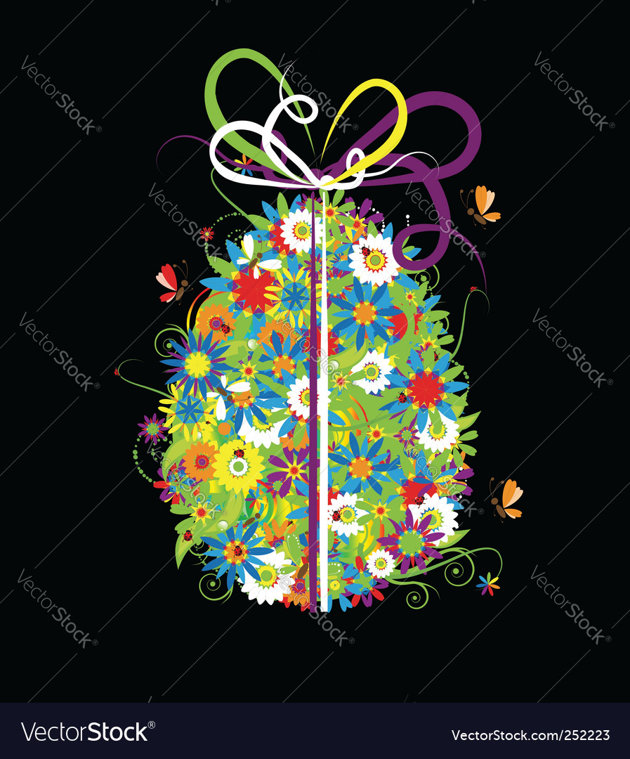 Floral Easter egg on black vector image