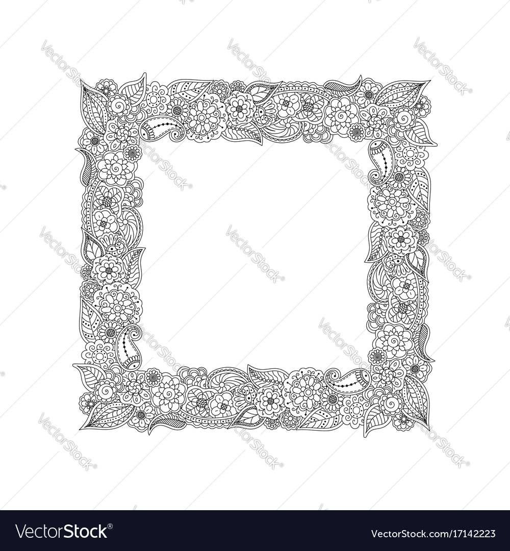 Frame of floral doodle elements coloring page