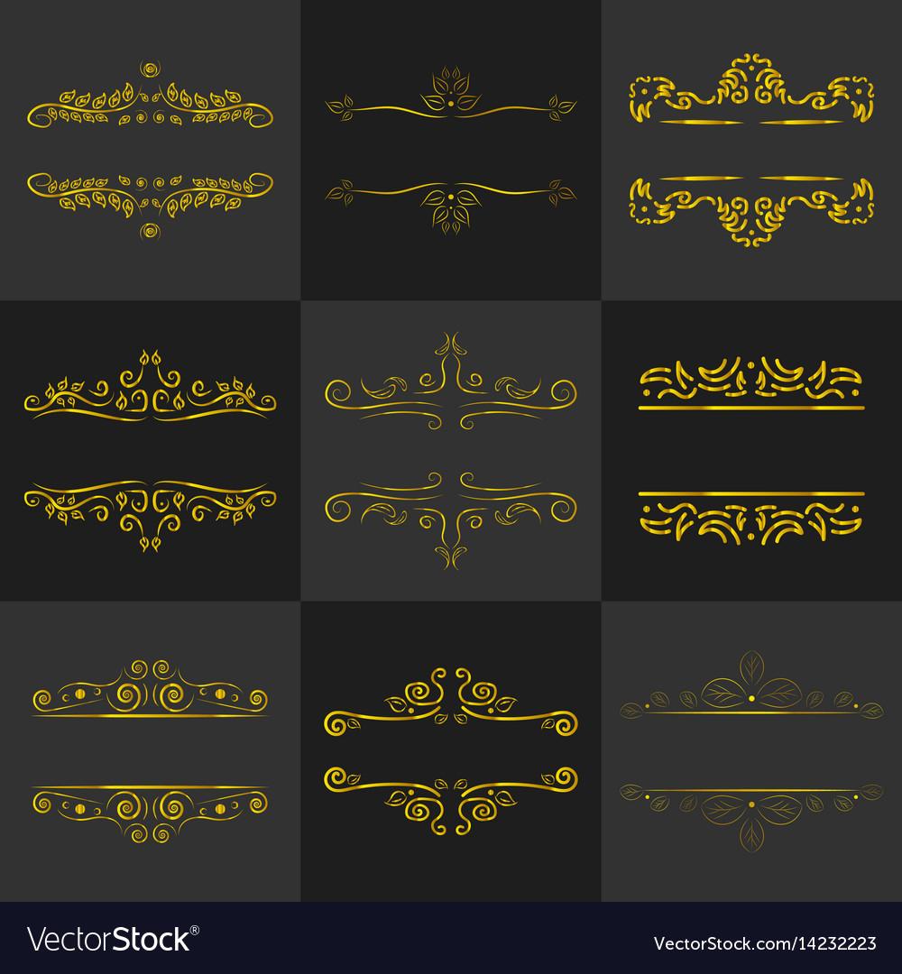 4578151402e Golden vintage frame decoration set Royalty Free Vector