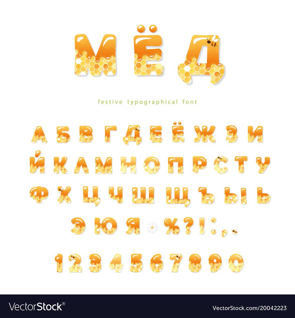 Honey cyrillic font glossy sweet alphabet