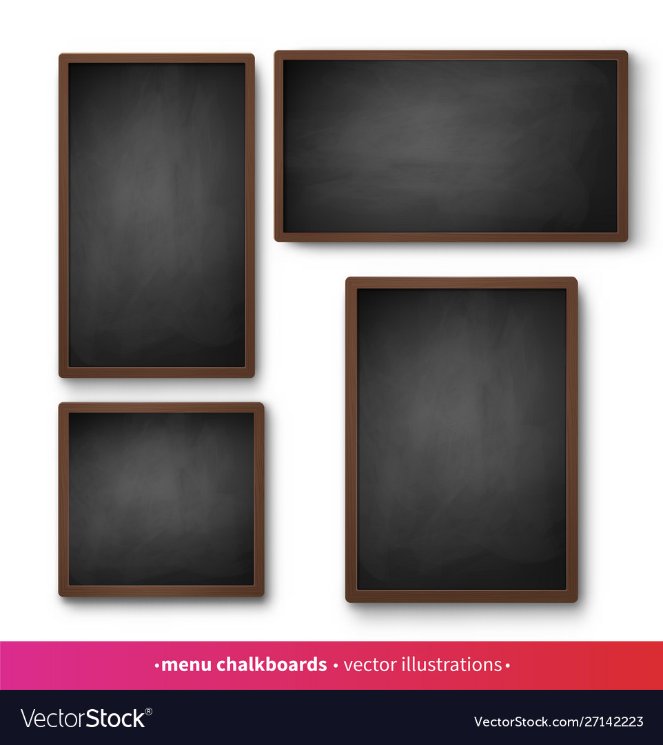 Isolated menu boards with black frames