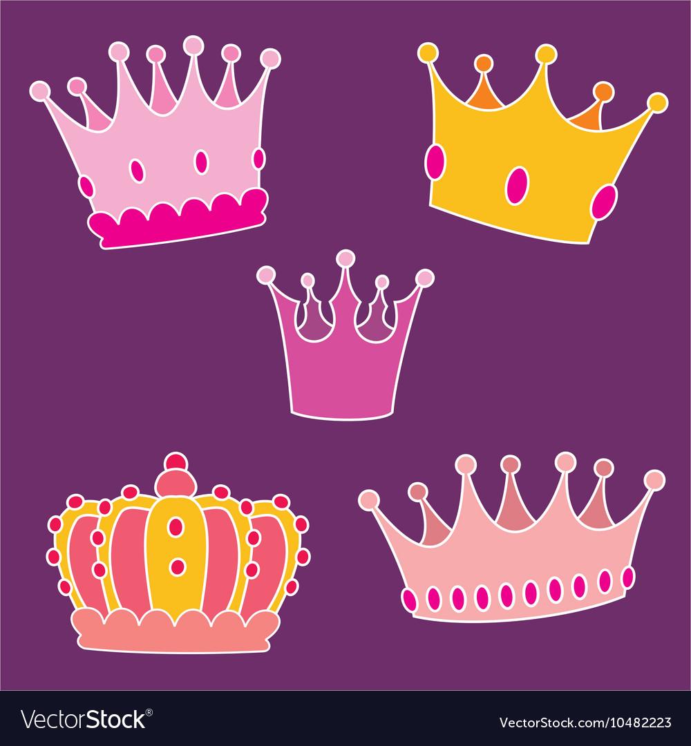 Pastel crown set vector image