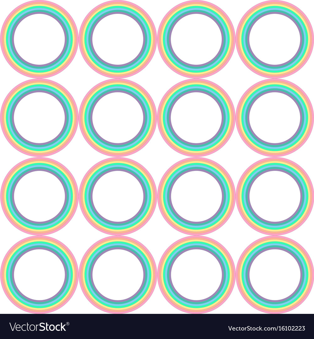 Pastel rainbow circle pattern vector image