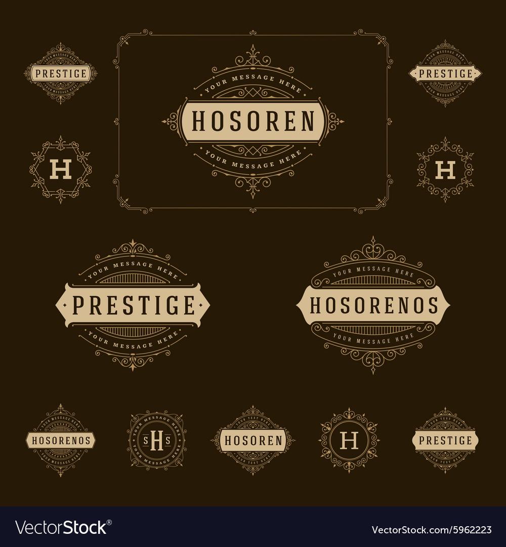 Set Luxury Logos template flourishes calligraphic