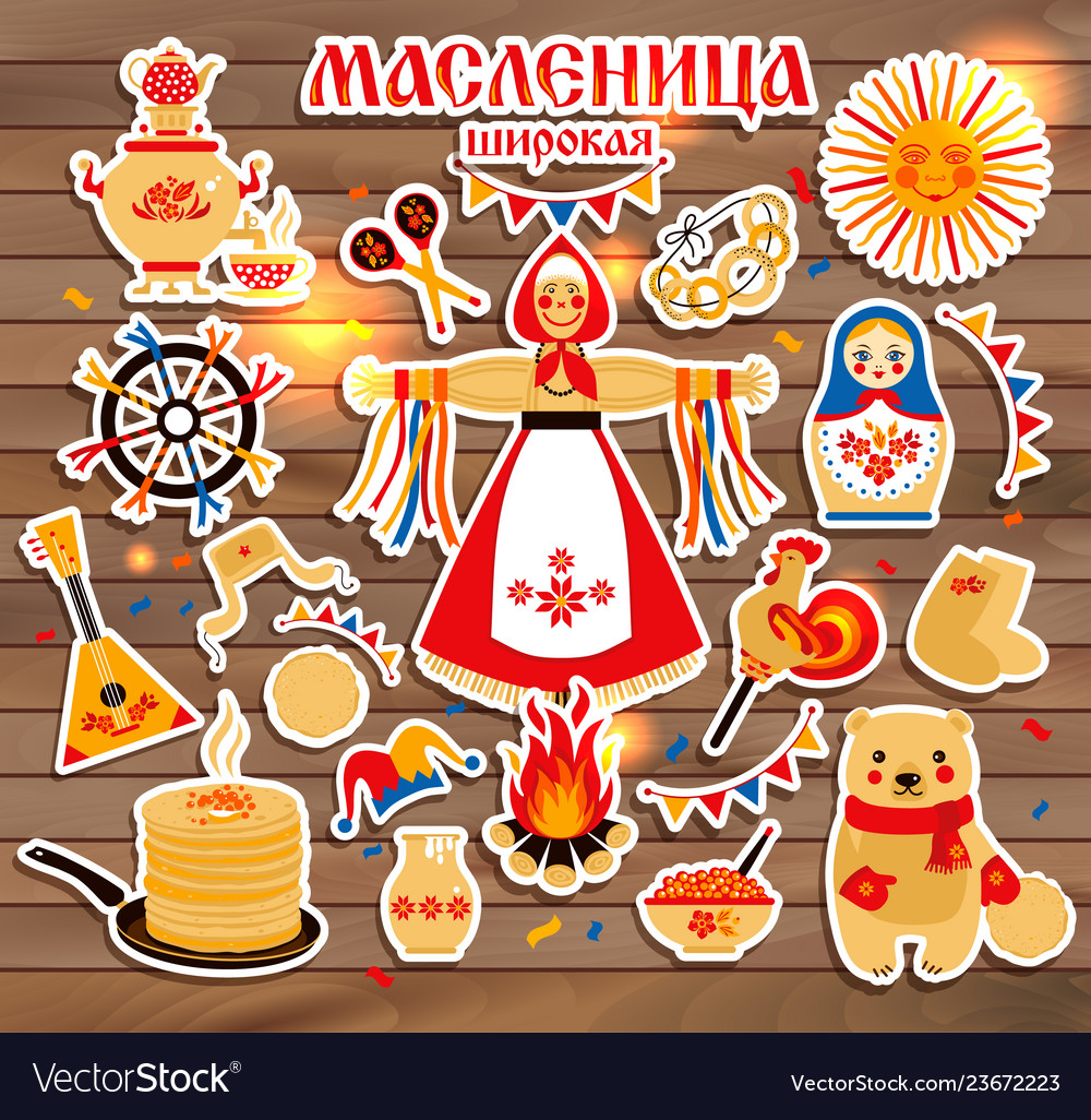 Sticker set on the theme of the russian