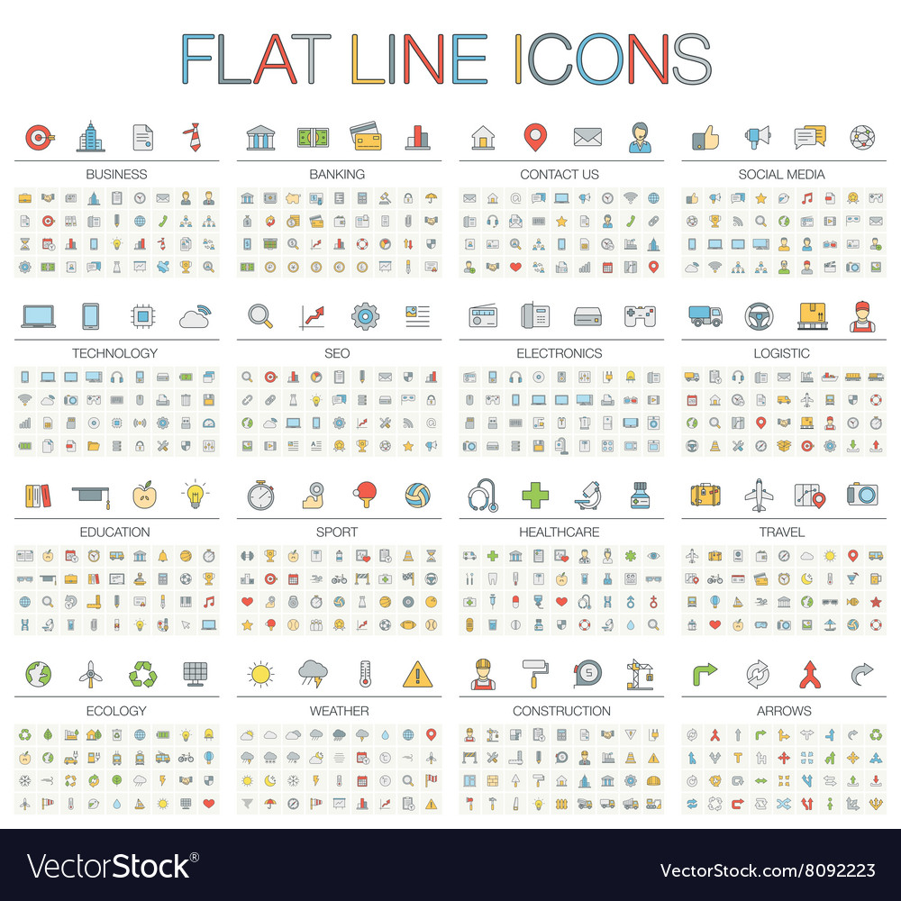 Thin line color icons