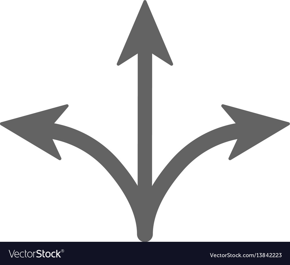 Three way icon arrow separated on three