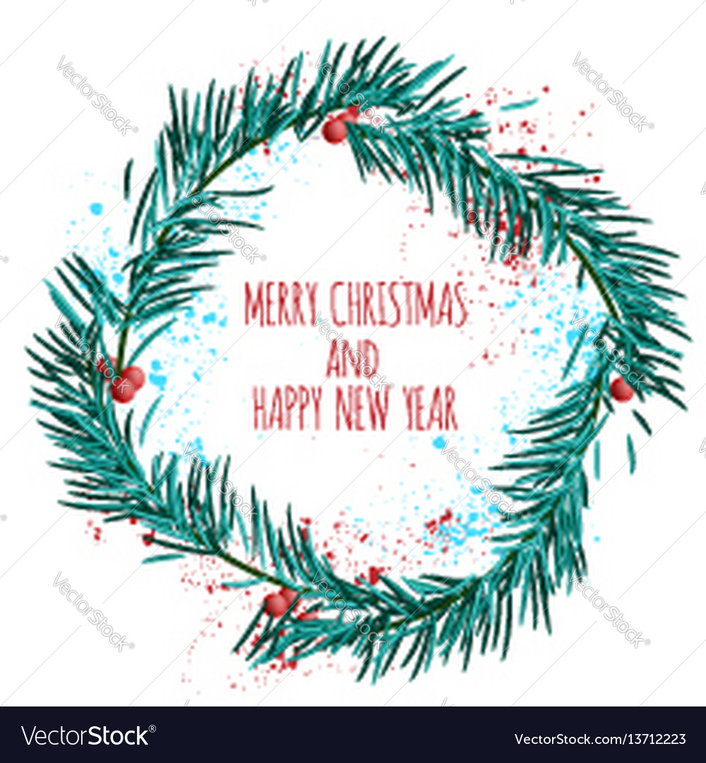white card with blue christmas wreath and berries vector image - Blue Christmas Wreath