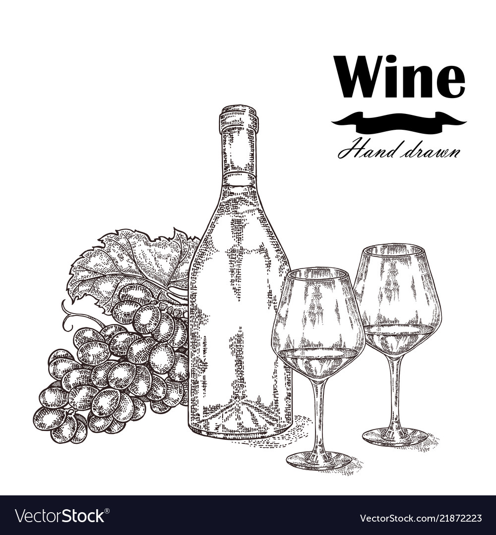 Wine bottle with two glasses and grapes