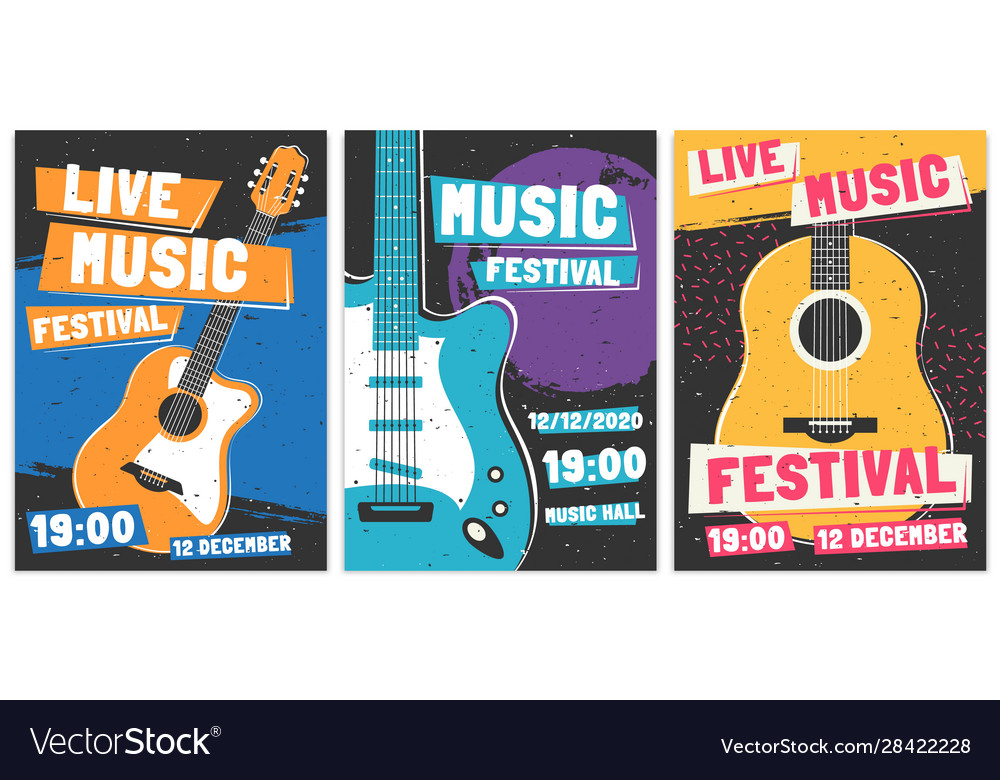 Music festival posters live acoustic guitar music