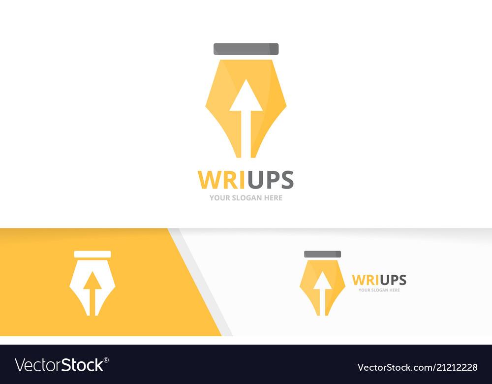 Pen and arrow up logo combination write