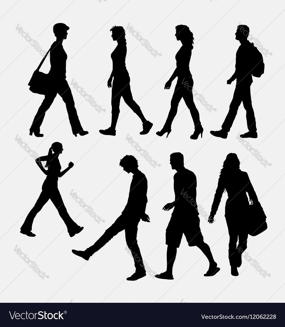 People walking silhouette vector image