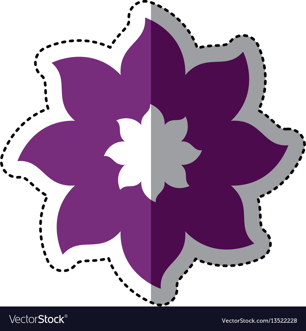 Purple Flower With Pointed Petals Icon Royalty Free Vector