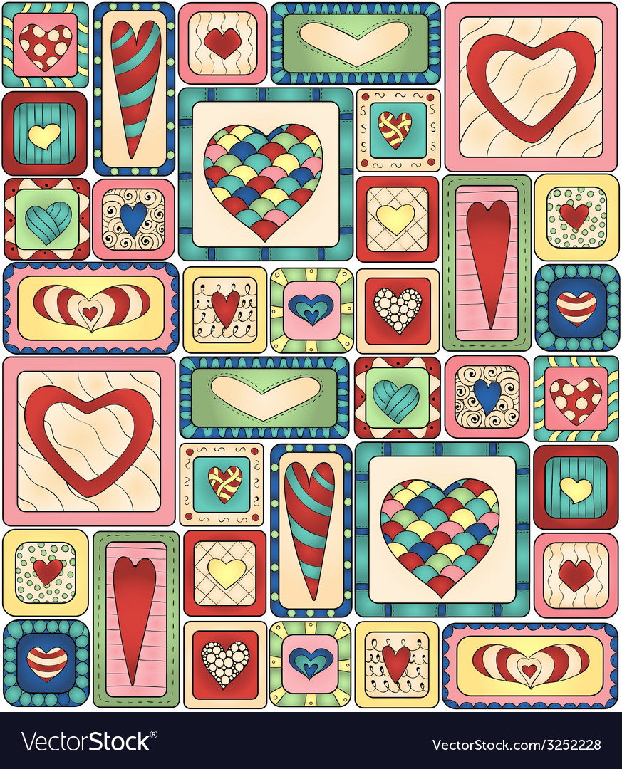 Seamless pattern of original drawing doodle hearts