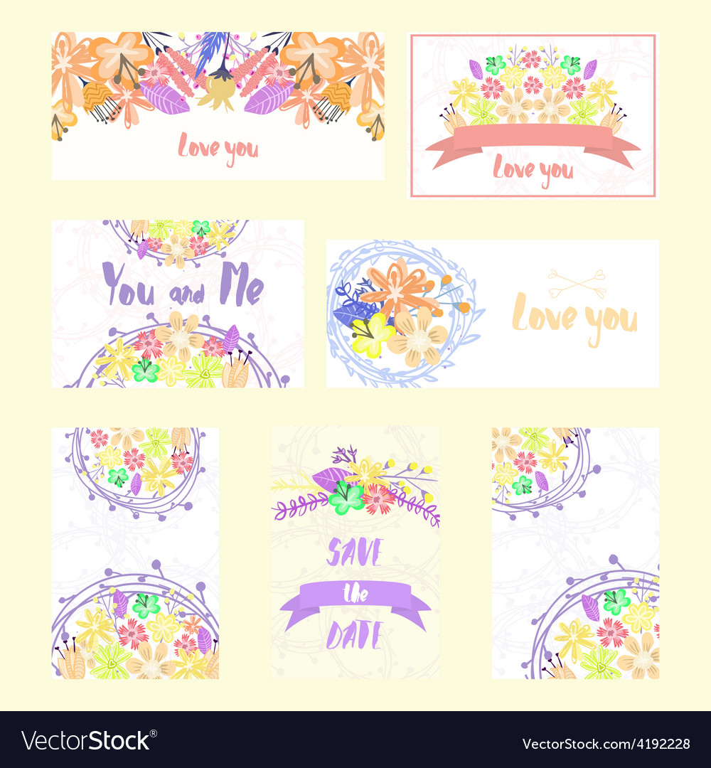 Set of cards with flowers and ribbons