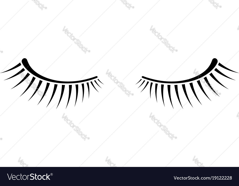 Simple black two eyelashes icon on white