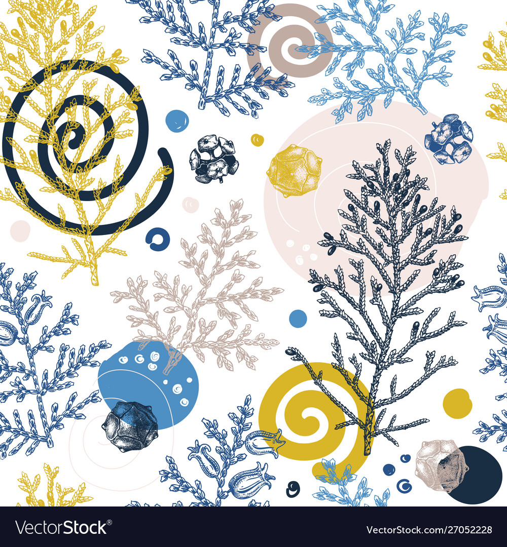 Trendy winter background cypress seamless pattern