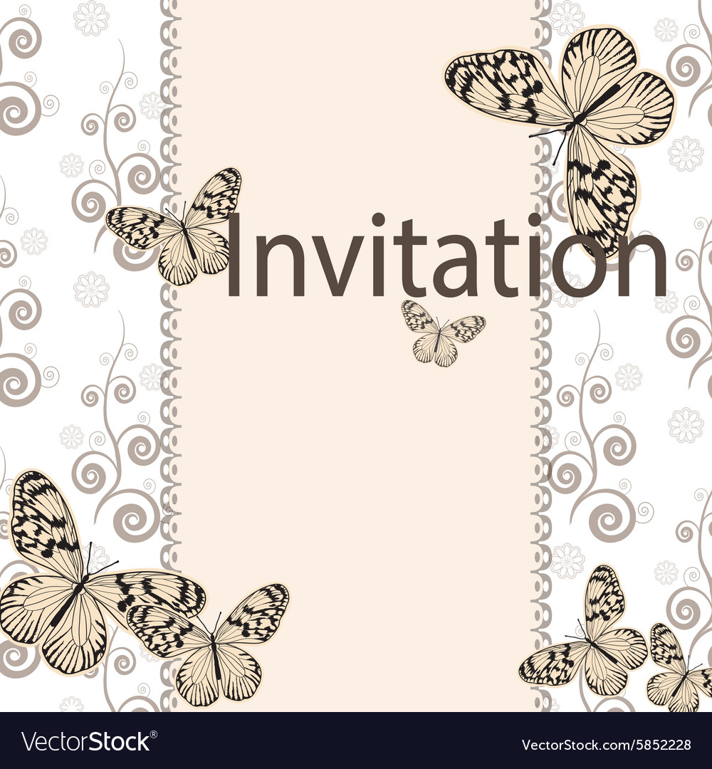 Vintage invitation card with white butterfly