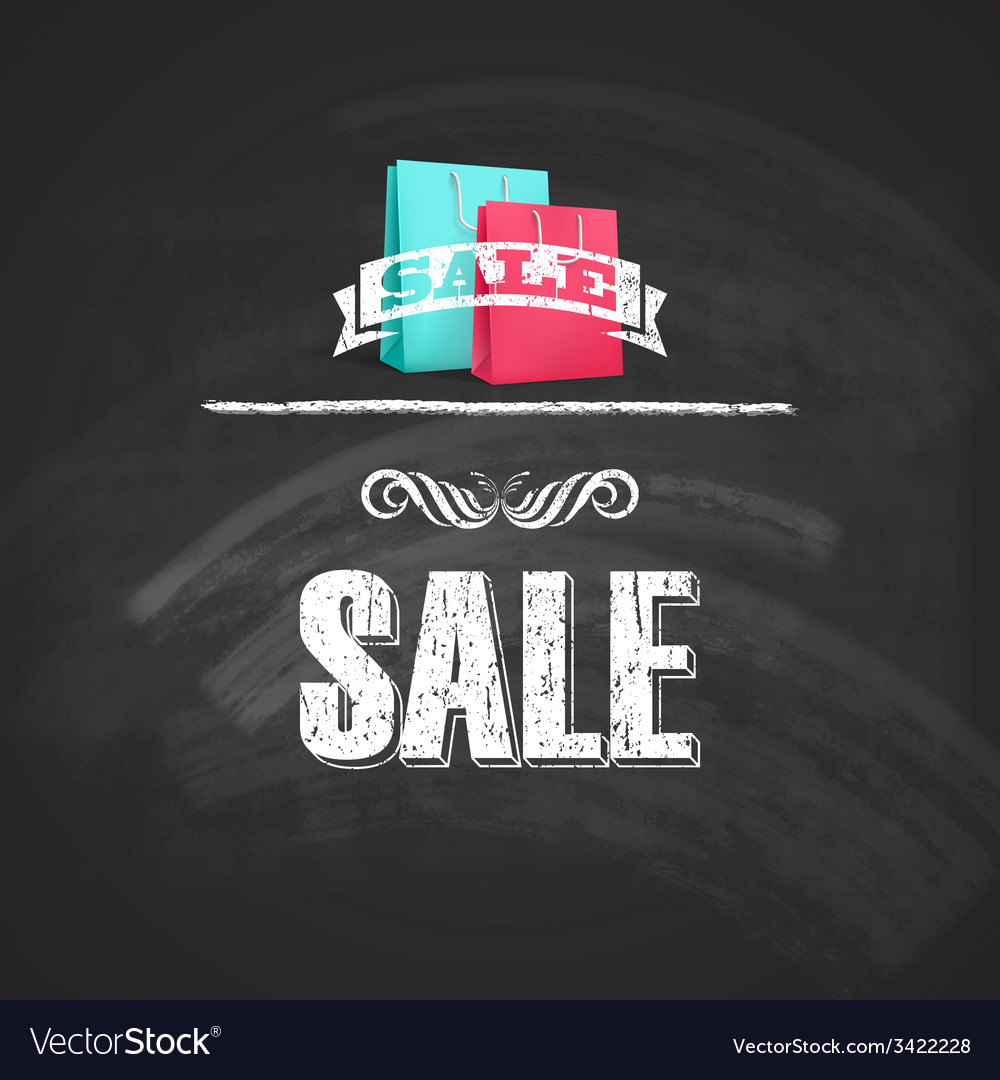 Vintage poster with shopping bag sale concept with