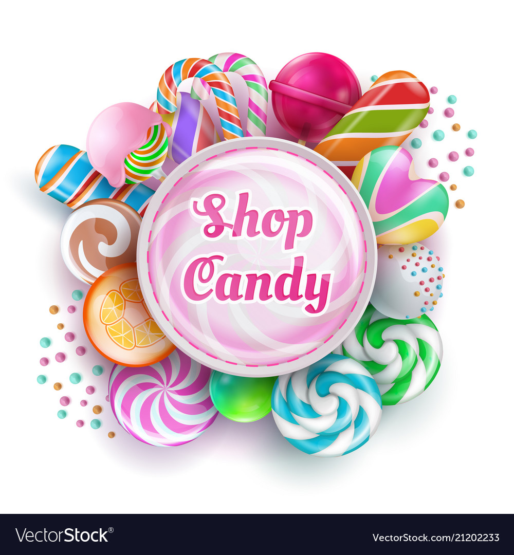Candy shop background with sweet realistic candies