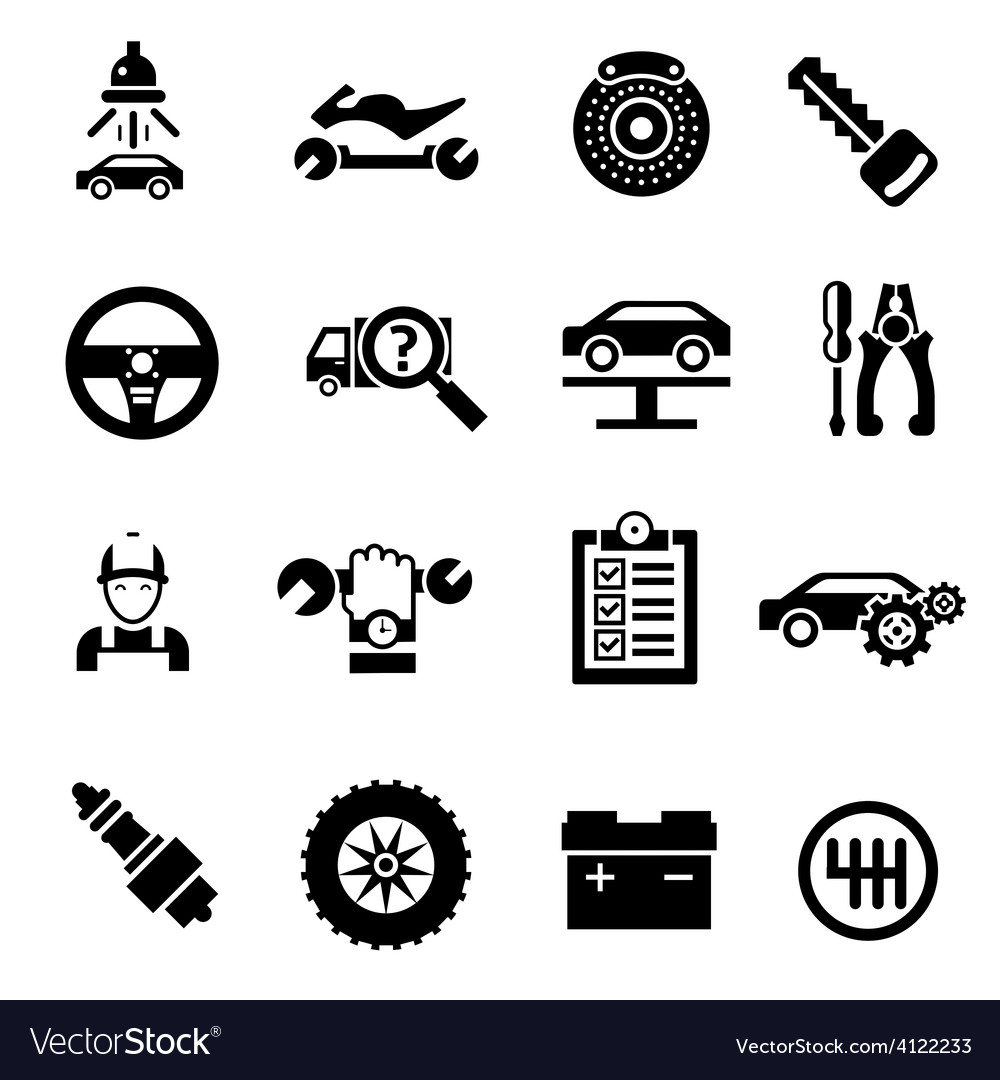 Car Repair Icons Black vector image