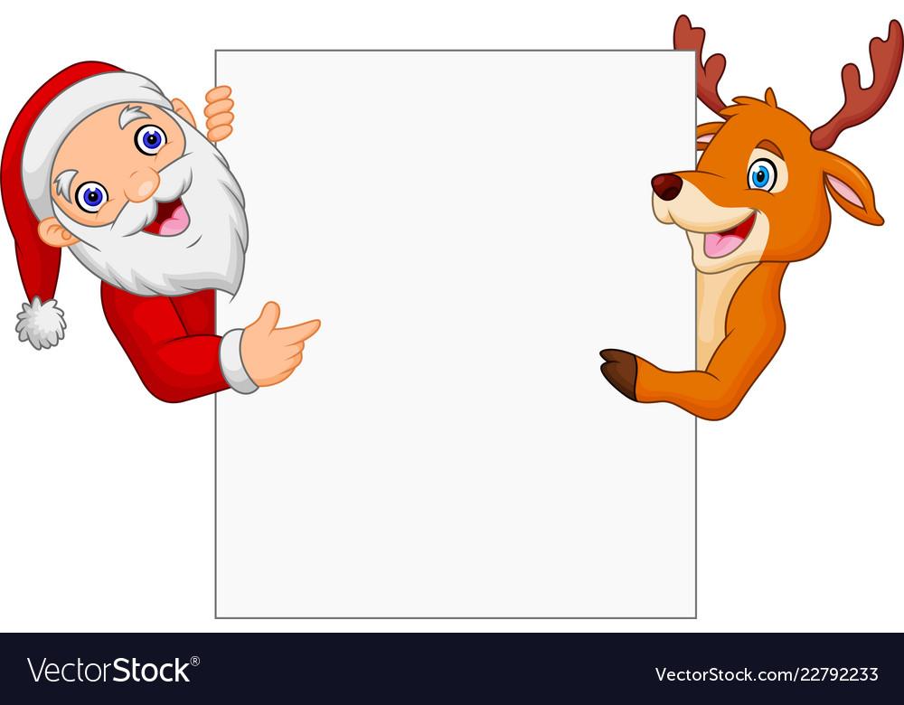 Cartoon santa claus and reindeer pointing at blank