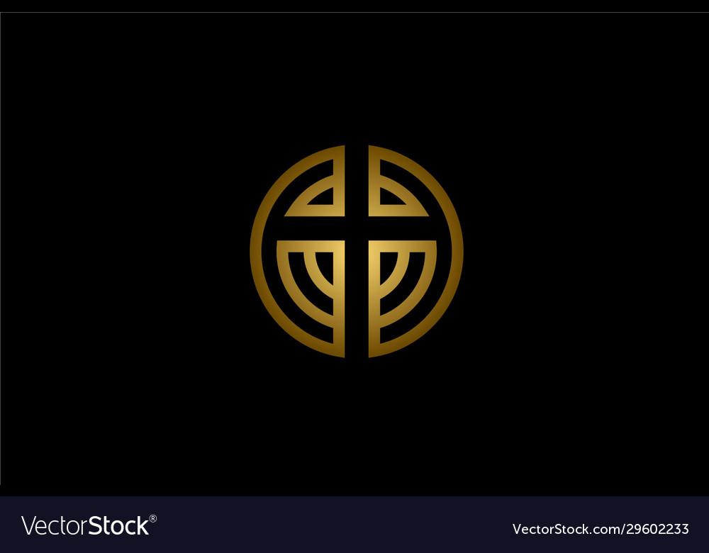Circular christian cross church logo