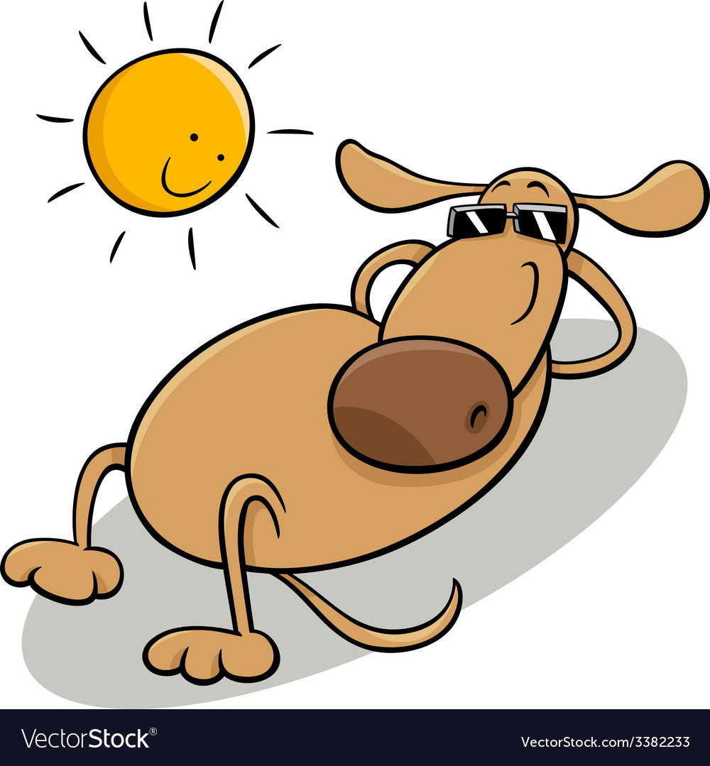 Dog taking sunbath cartoon