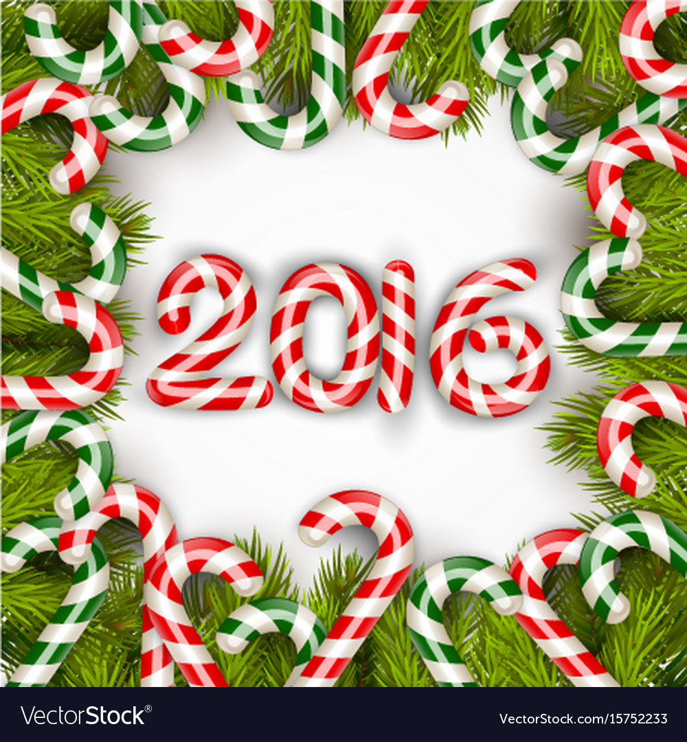 Happy new year 2016 with concept lollipops vector image