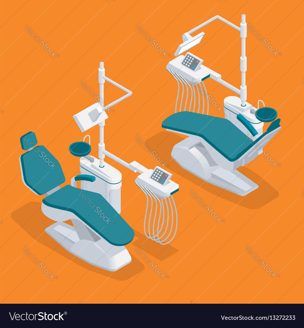 Isometric modern dentist chair isolated equipment