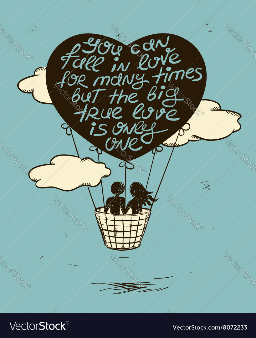 Love Greeting Card With Flying Couple In Hot Air vector image