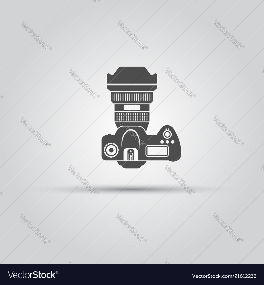 Photo camera top view isolated black icon
