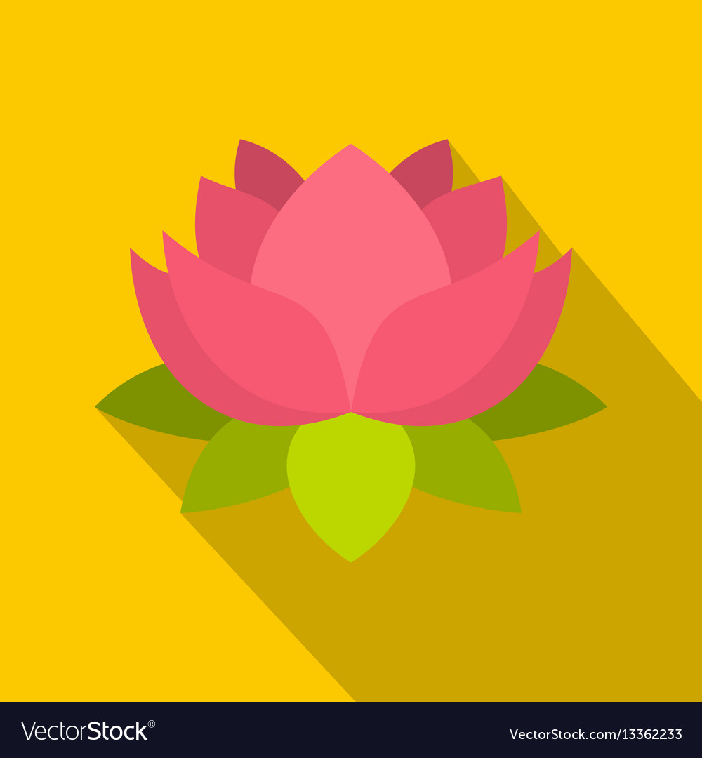 Pink Lotus Flower Icon Flat Style Royalty Free Vector Image