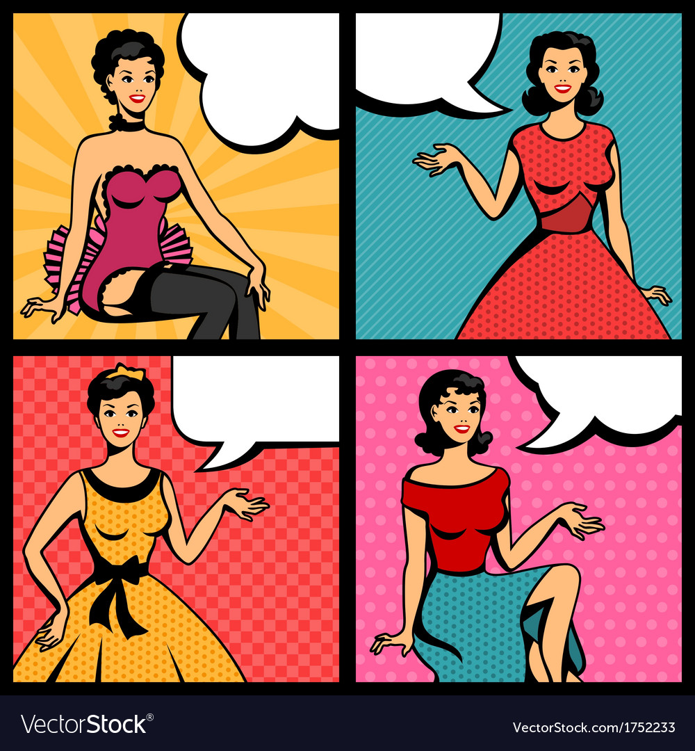 Retro girls in pop art style vector image