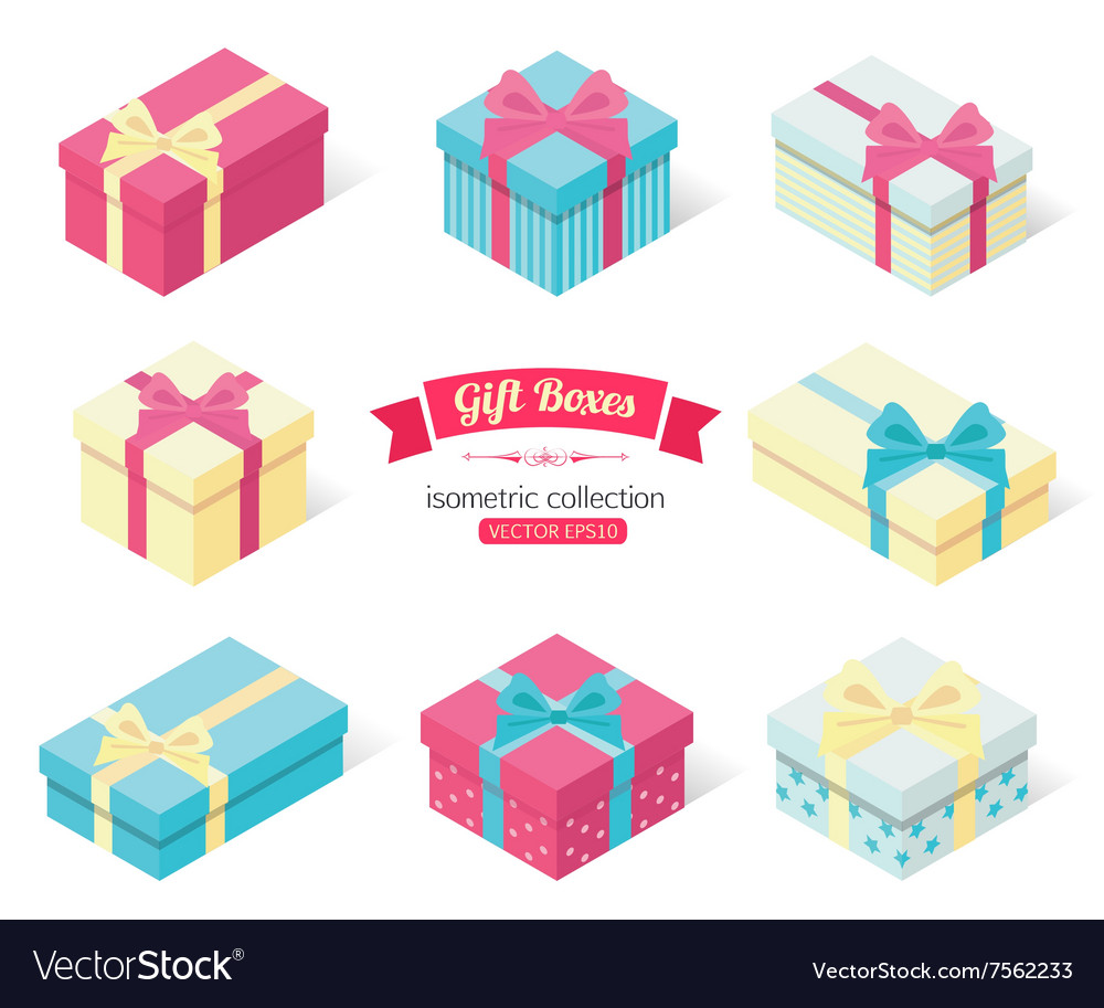 Set of 3d isometric colorful gift boxes with bows