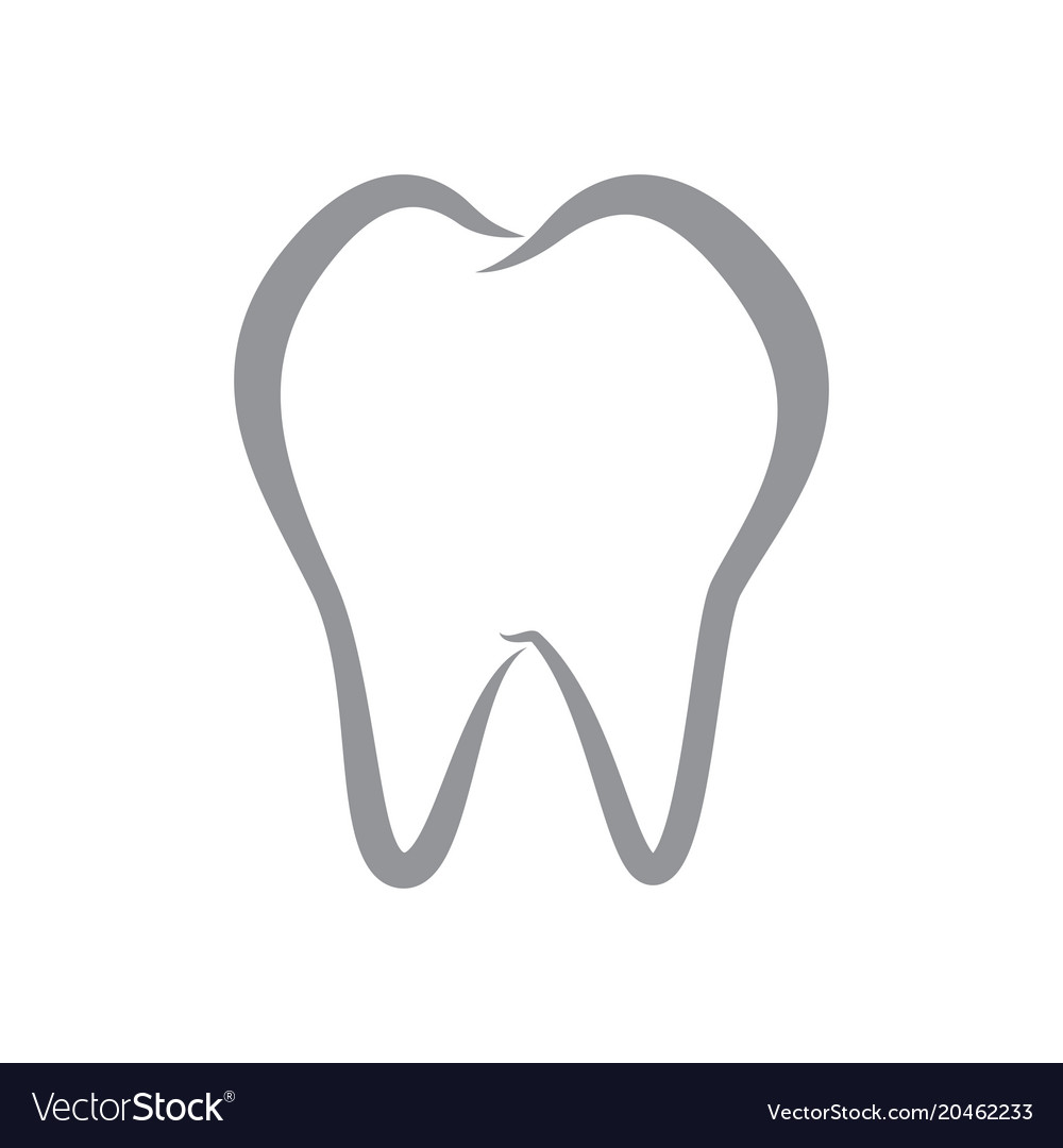 Simple tooth line icon on isolated white