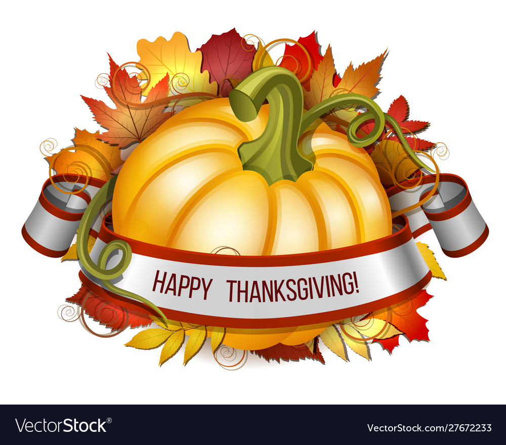 Thanksgiving banner ribbon with happy