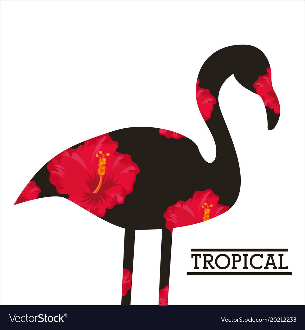 Tropical flower leaves animal card