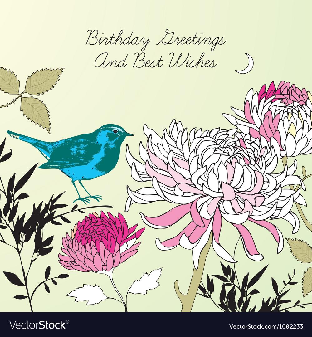 Vintage Floral Birthday Card Royalty Free Vector Image
