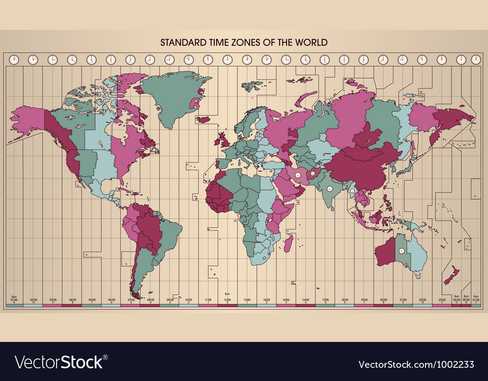 World map time zones Royalty Free Vector Image